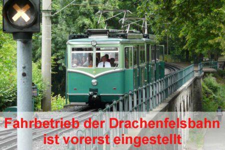 Fahrbetrieb der Drachenfelsbahn wurde eingestellt