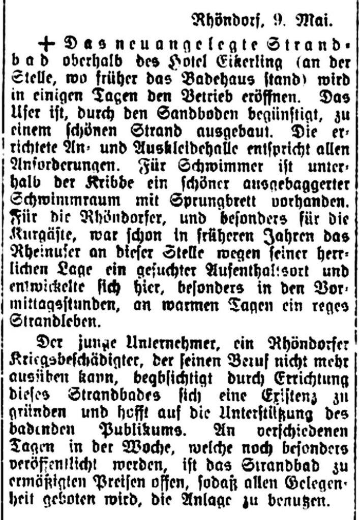 HVZ-Bericht zur Strandbaderöffnung 1921